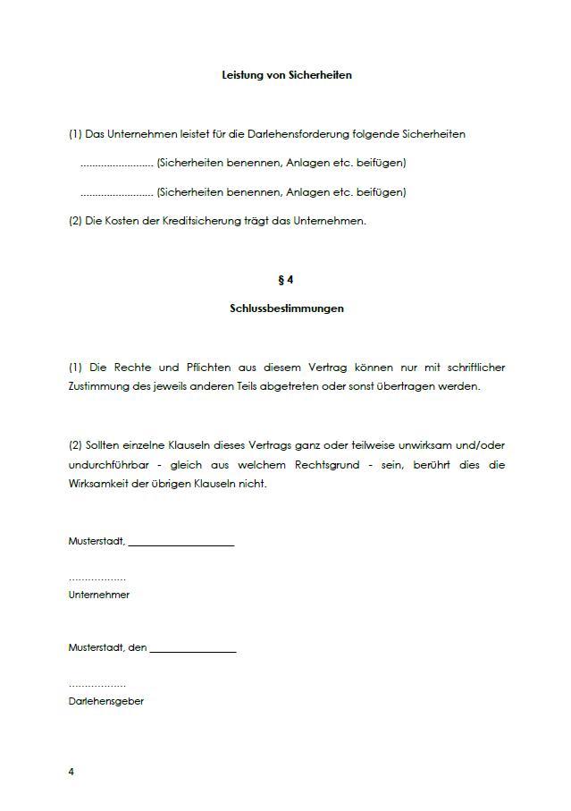 Partiarisches Darlehen Mustervertrag Zum Download