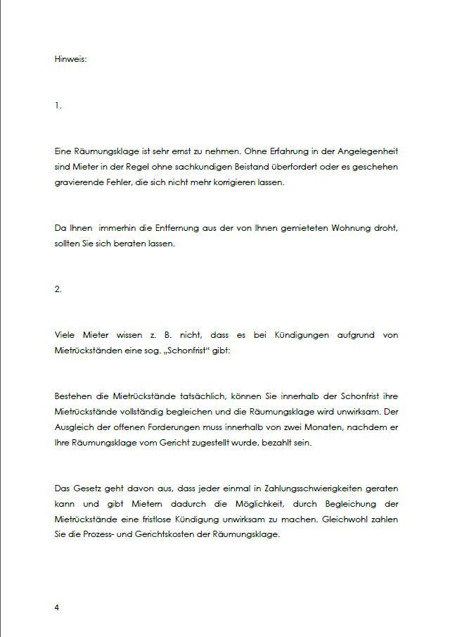 Raumungsklage Gegen Einen Mieter Ch Musterbrief Download 6