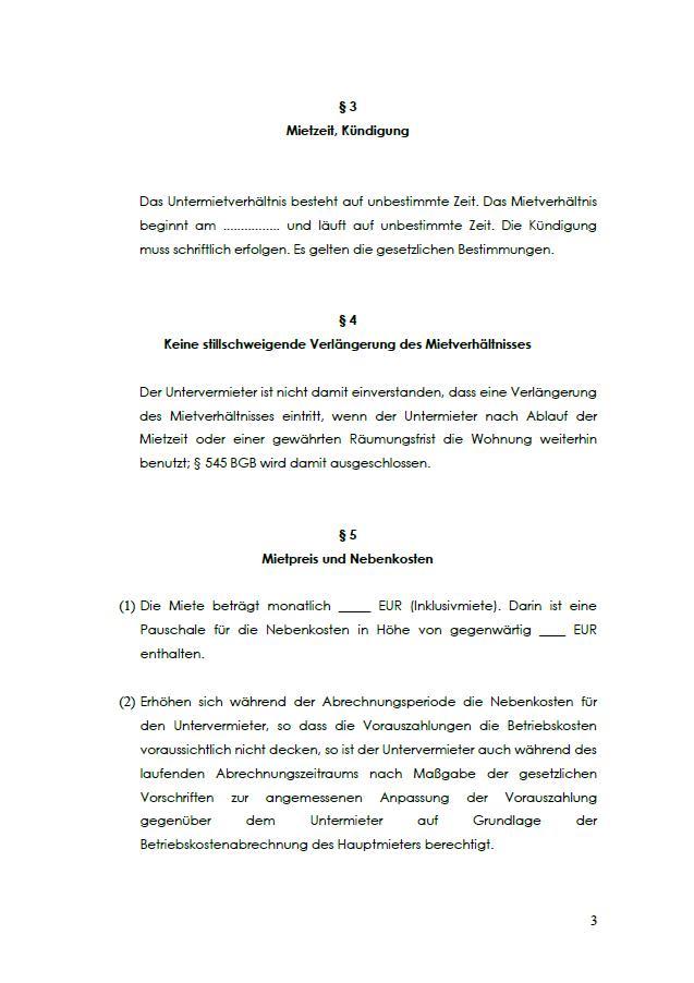 Untermietvertrag Vorlage Schweiz Kostenlos Online Erstellen 6