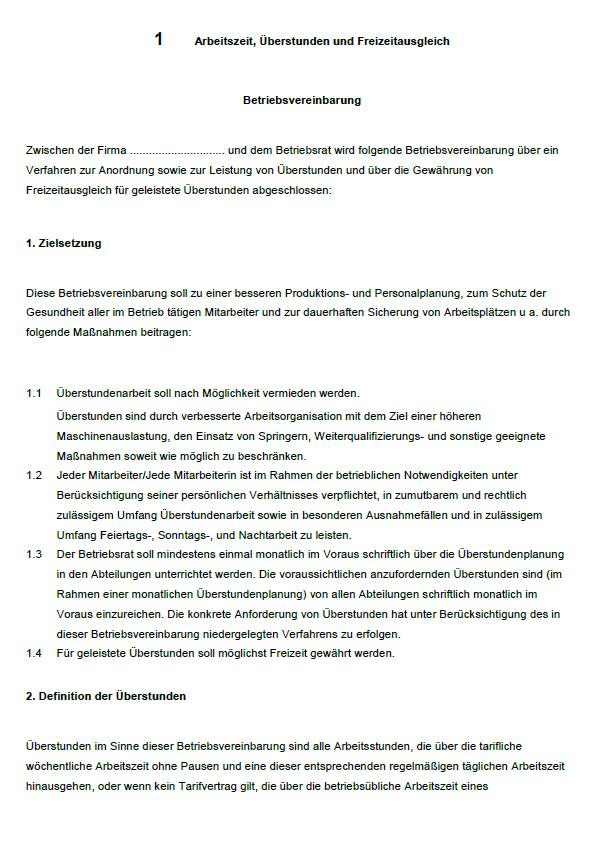 Betriebsvereinbarung Uberstunden Vorlage Zum Download