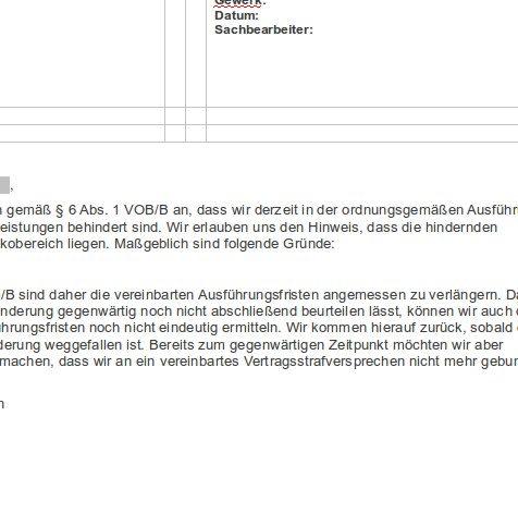 Behinderungsanzeige Allgemein Vob Sofort Download