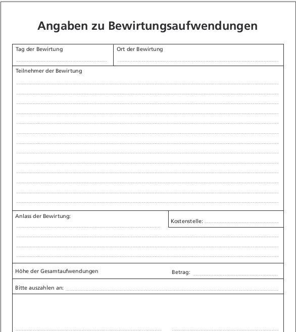 Bewirtungsbeleg Formular Zum Sofort Download