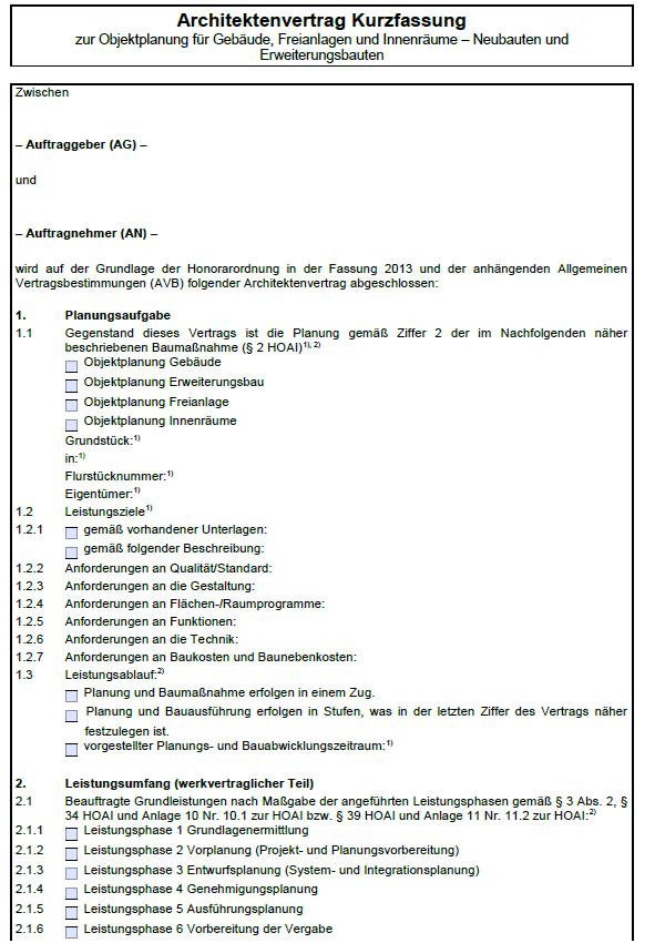 Architektenvertrag Muster Kostenlos Vorlagen 15