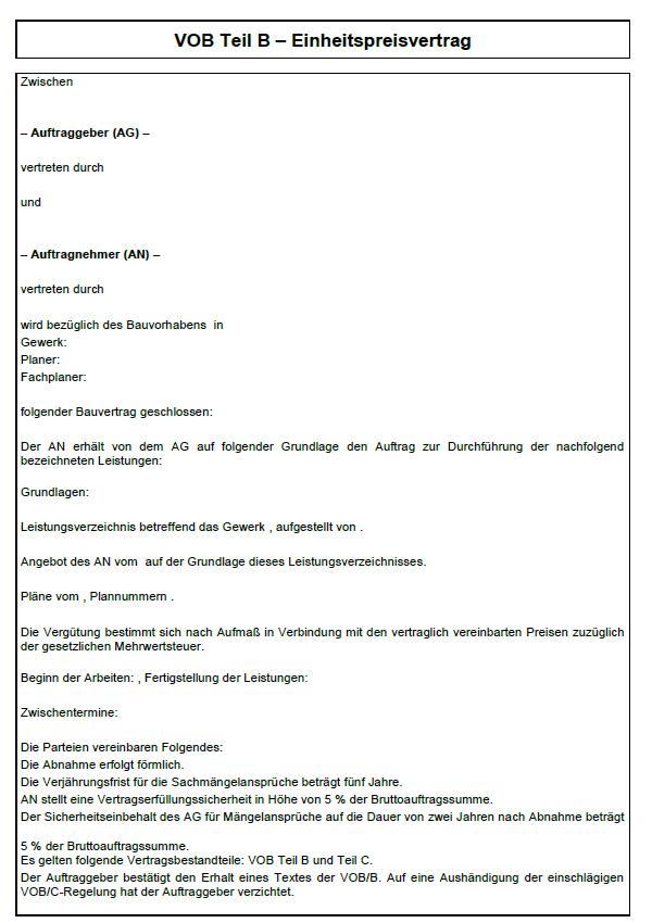 Vob B Einheitspreisvertrag Muster Zum Download