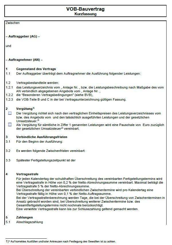 Vob Bauvertrag Kurzfassung Sofort Download