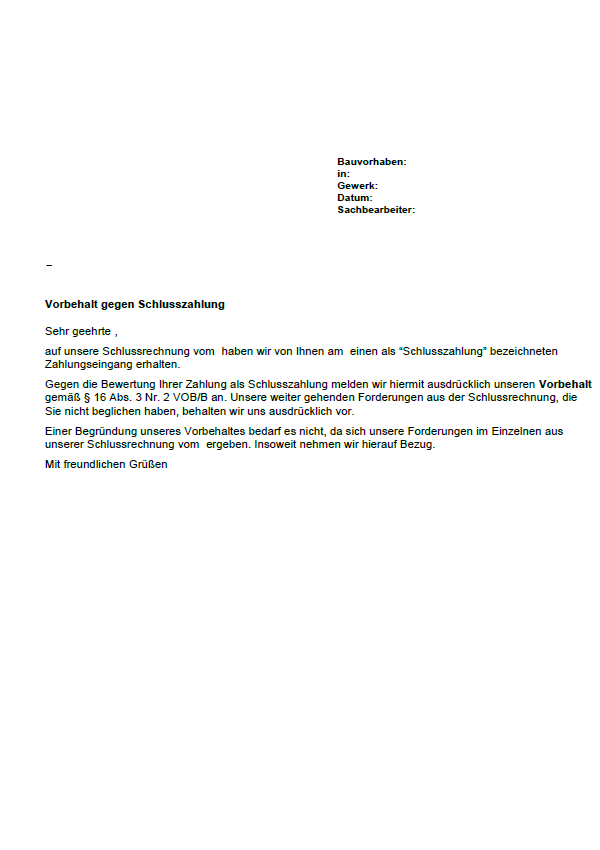 Musterbrief Vorbehalt Gegen Abschlusszahlung Sofort Download