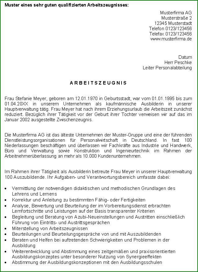 Arbeitszeugnis Schneider Note Eins Vorlage Zum Download