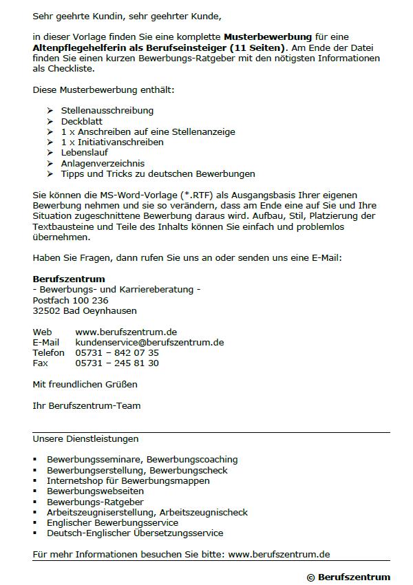 Bewerbung Altenpflegehelferin Berufseinsteiger Sofort Download
