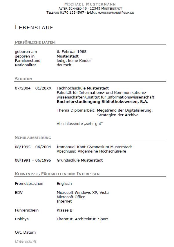 Bewerbung Archivassesor Referendariat Ausbildung