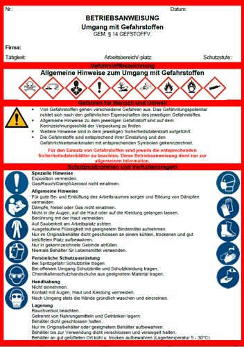 Betriebsanweisung Umgang Mit Gefahrstoffen Sofort Download