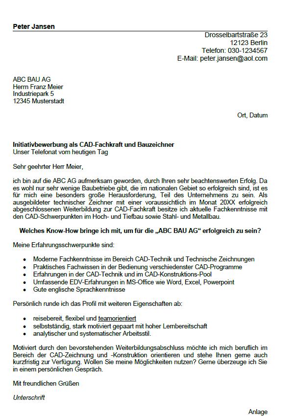 Bauzeichner Bewerbung 10 Muster Fur Ausbildung Job