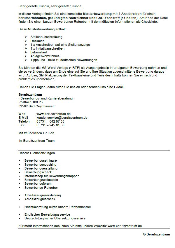 Bewerbung Ausbildung Bauzeichner