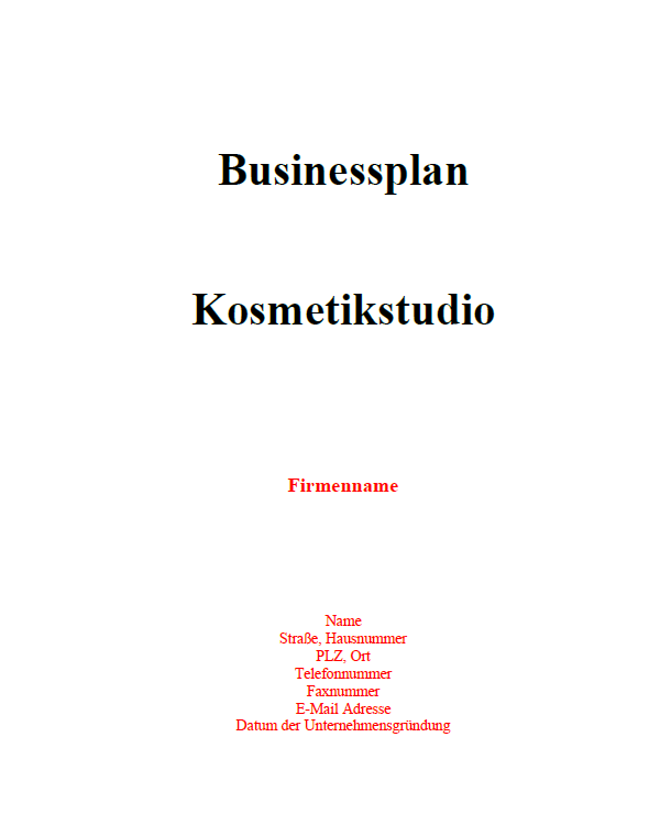 Businessplan - Kosmetikstudio