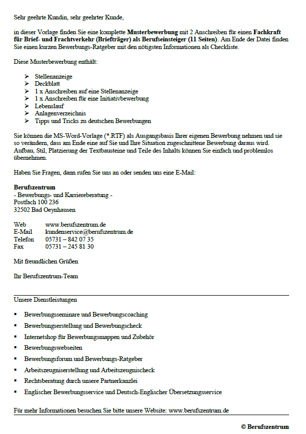 Bewerbung Brieftrager Berufseinsteiger Sofort Download