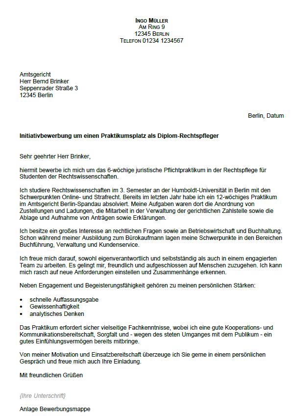 Bewerbung Diplom Rechtspfleger Ungekundigt 3