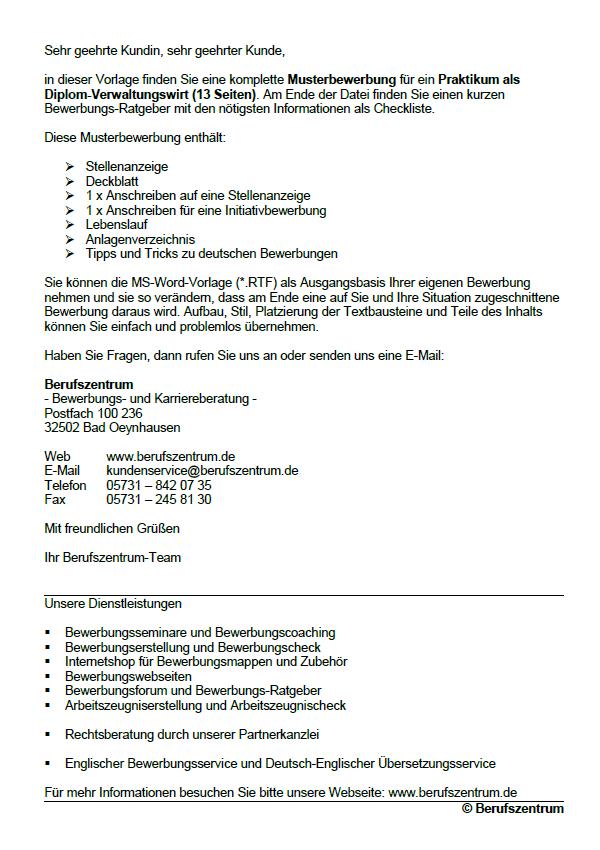Muster Bewerbung Verwaltungswirt Verwaltungswirtin Berufseinsteiger