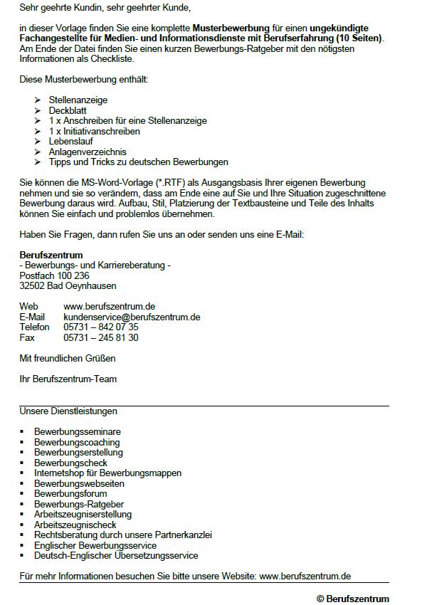Bewerbung Fachangestellte Für Medien Und Informationsdienste