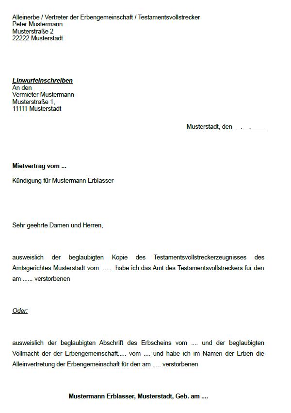 kündigung gewerblicher mietvertrag