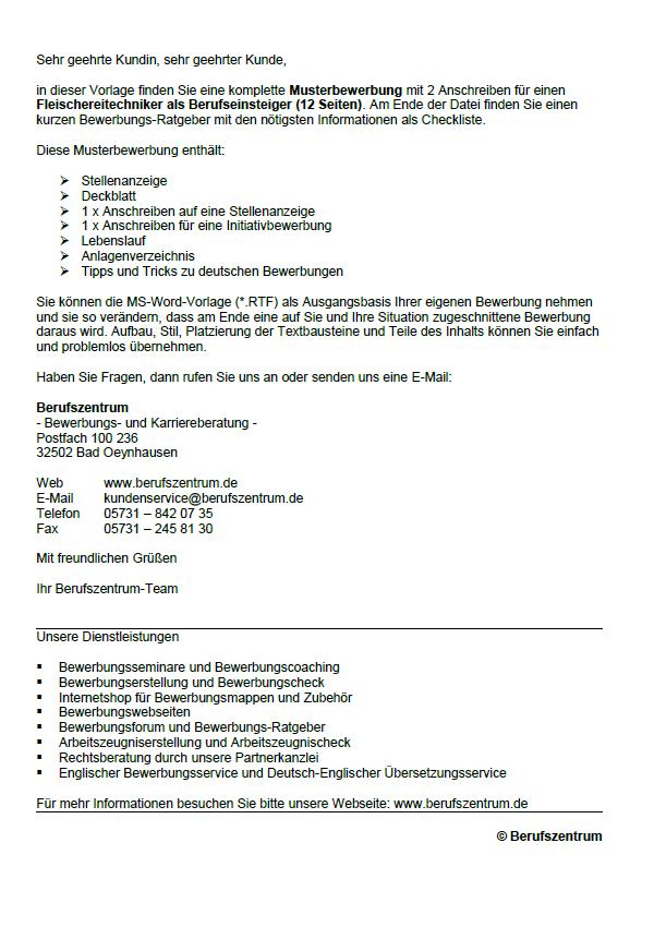 Bewerbung - Fleischer (Berufseinsteiger) - Sofort-Download