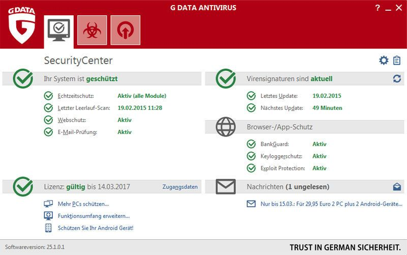 GDATA Software - G Data Antivirus - 2 Jahre & 1 PC