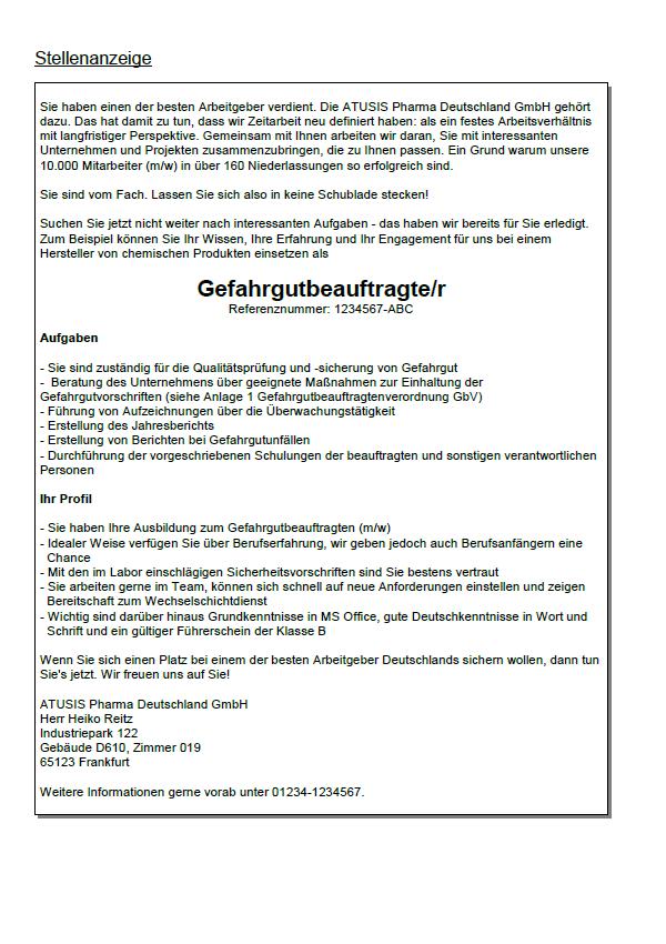 Bewerbung Gefahrgutbeauftragter Berufseinsteiger Sofort Download