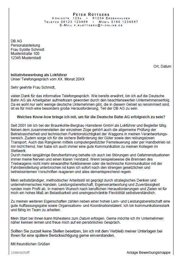Bewerbung Deutsche Bahn Bewerbungsschreiben