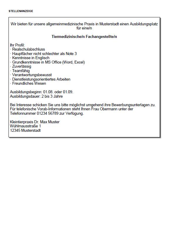 Muster Bewerbung Als Tierarzthelferin 15
