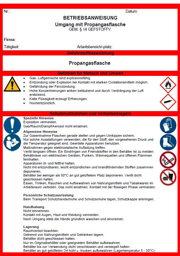 Betriebsanweisung Propangasflasche Sofort Download