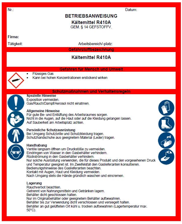 Betriebsanweisung Kaltemittel R410a Sofort Download
