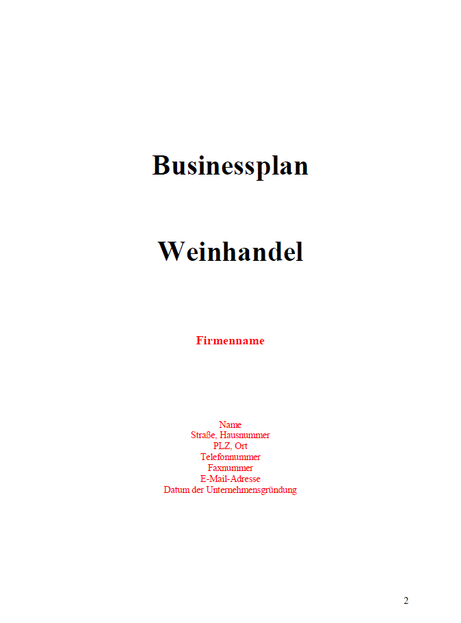 Businessplan - Weinhandel