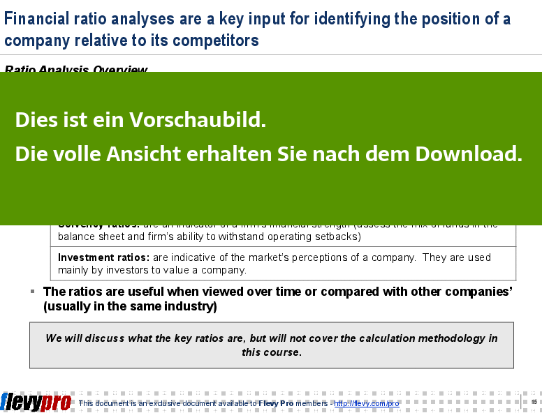 Ein Einblick in die Ratio Analysis.