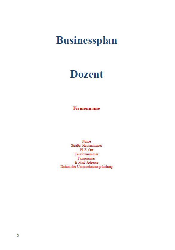 Businessplan - Dozent
