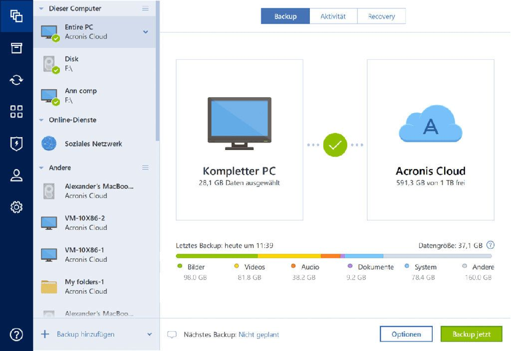 Acronis - Acronis True Image Advanced - 3 Computers + 250 GB Acronis Cloud Storage - 1 Jahr Abonnement