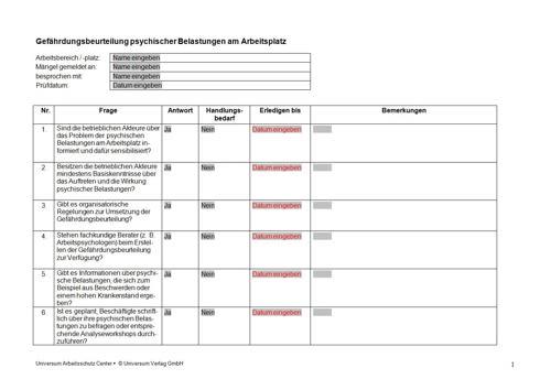 Pilotprojekt Durchfuhrung Von Gefahrdungsbeurteilungen 5