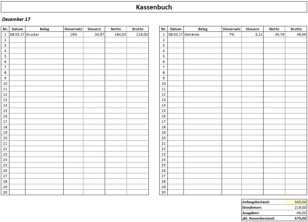 Kassenbuch Excel Vorlage Zum Herunterladen