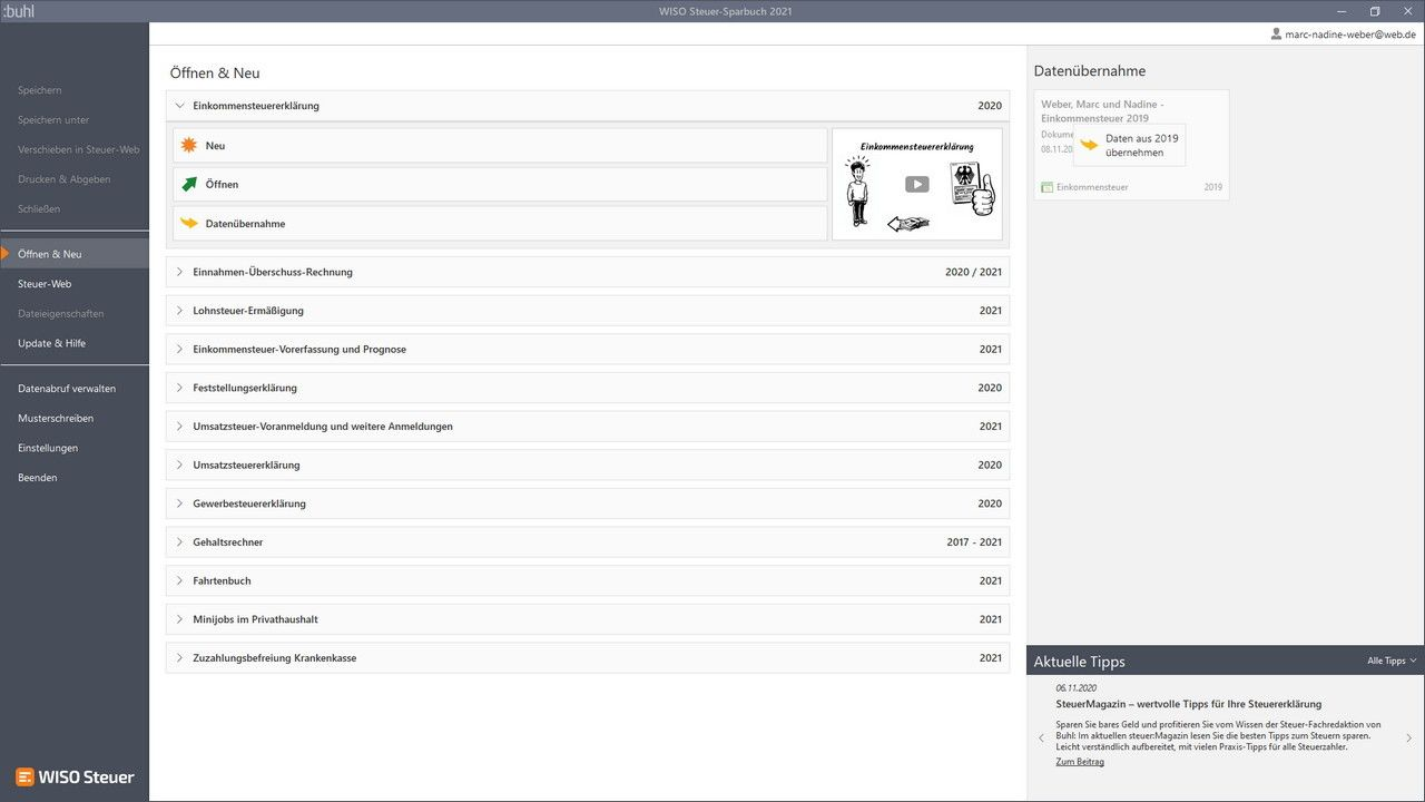 Buhl Data - WISO steuer:Sparbuch 2021 (Windows) - Sofort ...
