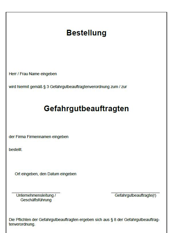 Bestellung Zum Zur Gefahrgutbeauftragten Sofort Download