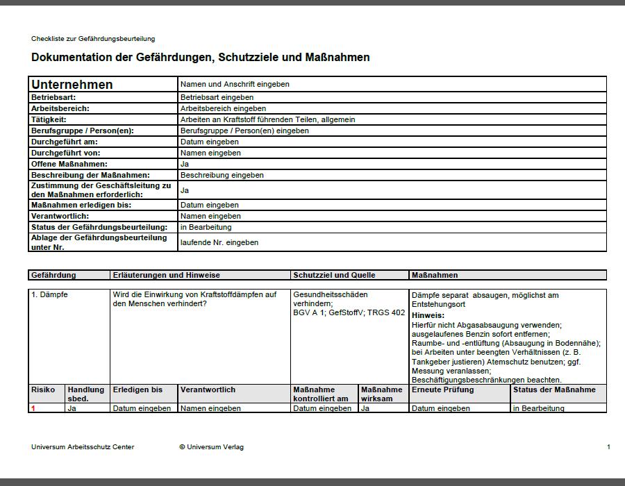 Gefahrdungsbeurteilung Arbeiten An Kraftstoff Fuhrenden Teilen Allgemein Sofort Download