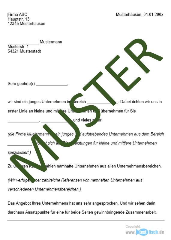 Werbebrief - Kooperation - Sofort-Download