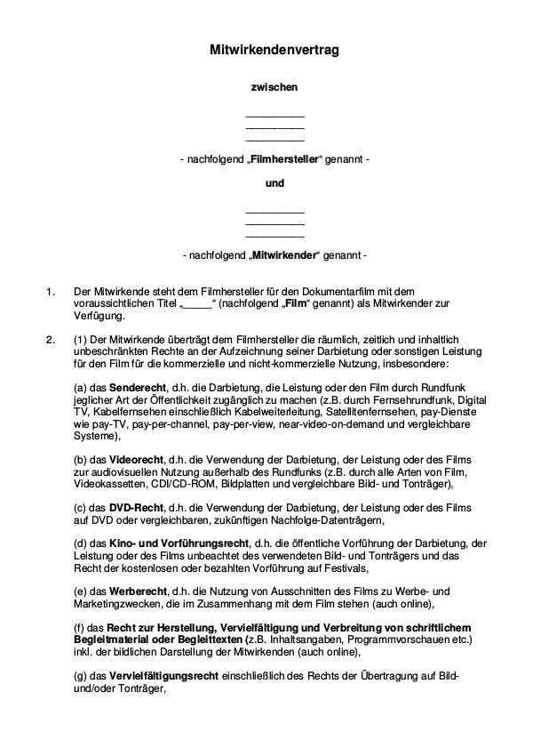 Rechteubertragung Model Release Vertrag Tfp 12