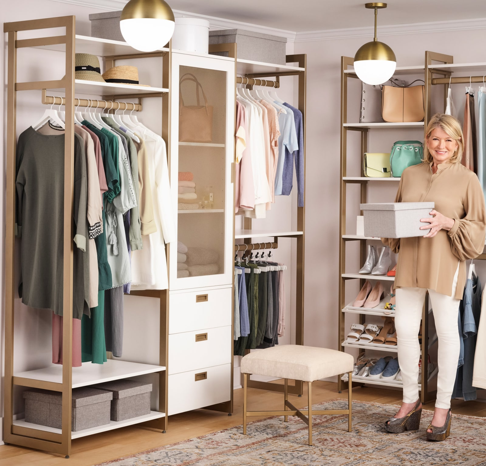 Martha Stewart in her walk-in closet