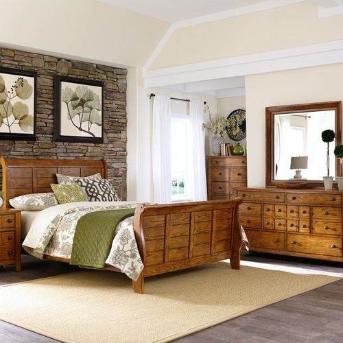 Picture of FULL OAK SLEIGH BED
