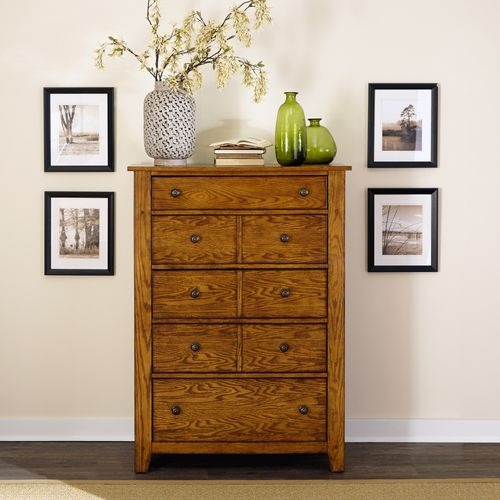 Picture of LAKE VIEW 5 DRAWER OAK CHEST