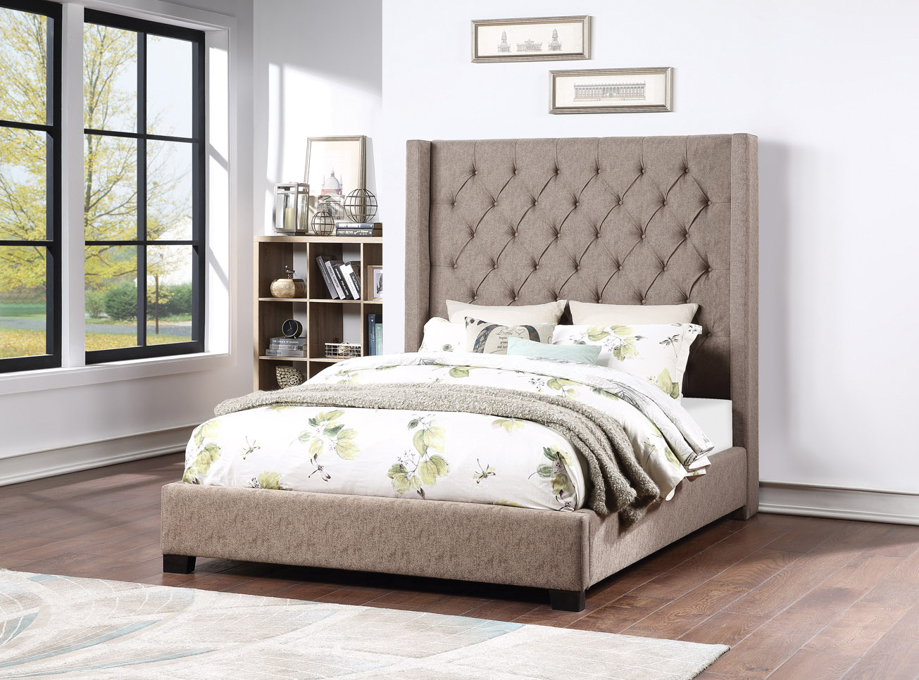Picture of KG UPH WING BED-BRWN