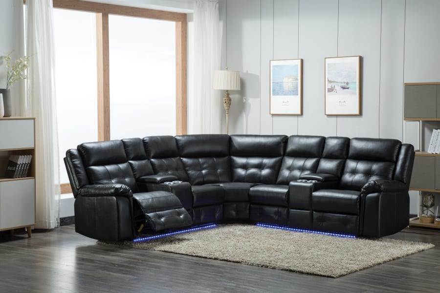 Picture of 3 PC BLACK POWER SECTIONAL W/BLUE UNDER LIGHTS