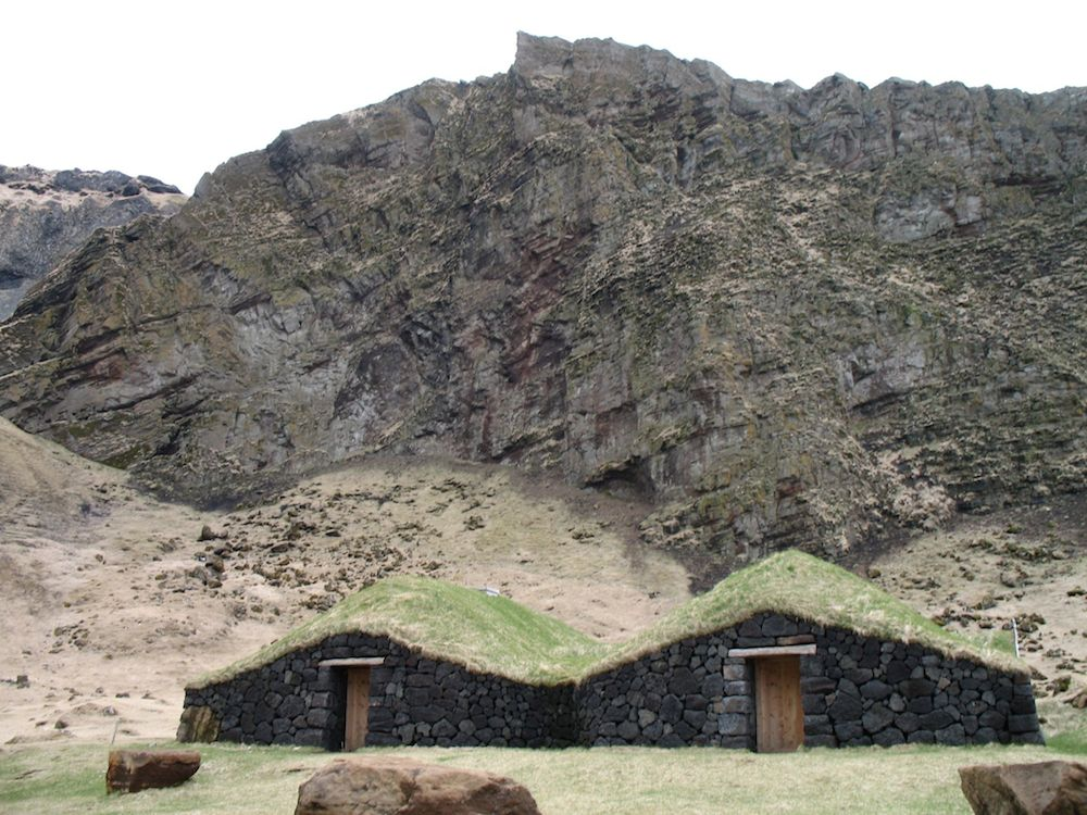 2 Turf roofed stone huts in Iceland