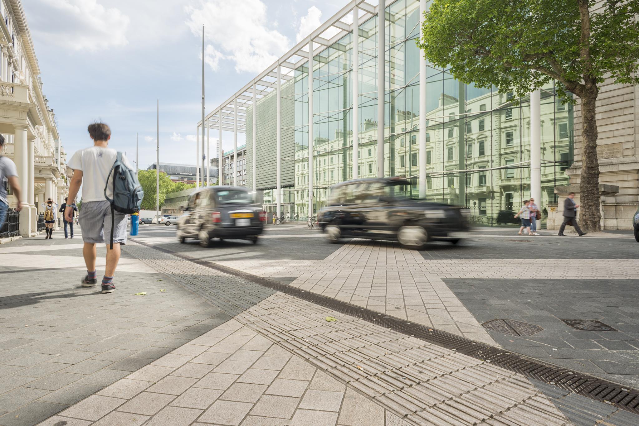 Block paving in busy public street