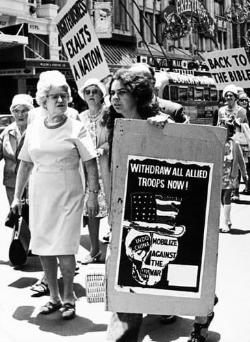 Pentecostal March Gatecrashed By Vietnam Protester 1972