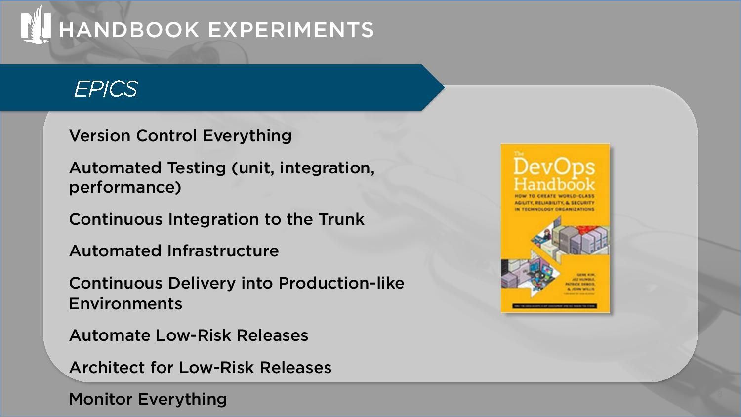 Grafmeyer, Jim, Payne, Cindy, DevOps Handbook Experiments in Accelerating Delivery