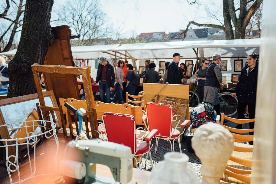 Two red chairs on a flea market